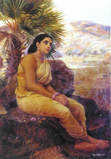 Raja Ravi Varma's Paintings: A Lonely sad South Indian Women