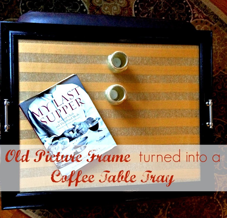 coffee table tray, repurpose, frame to coffee table tray,