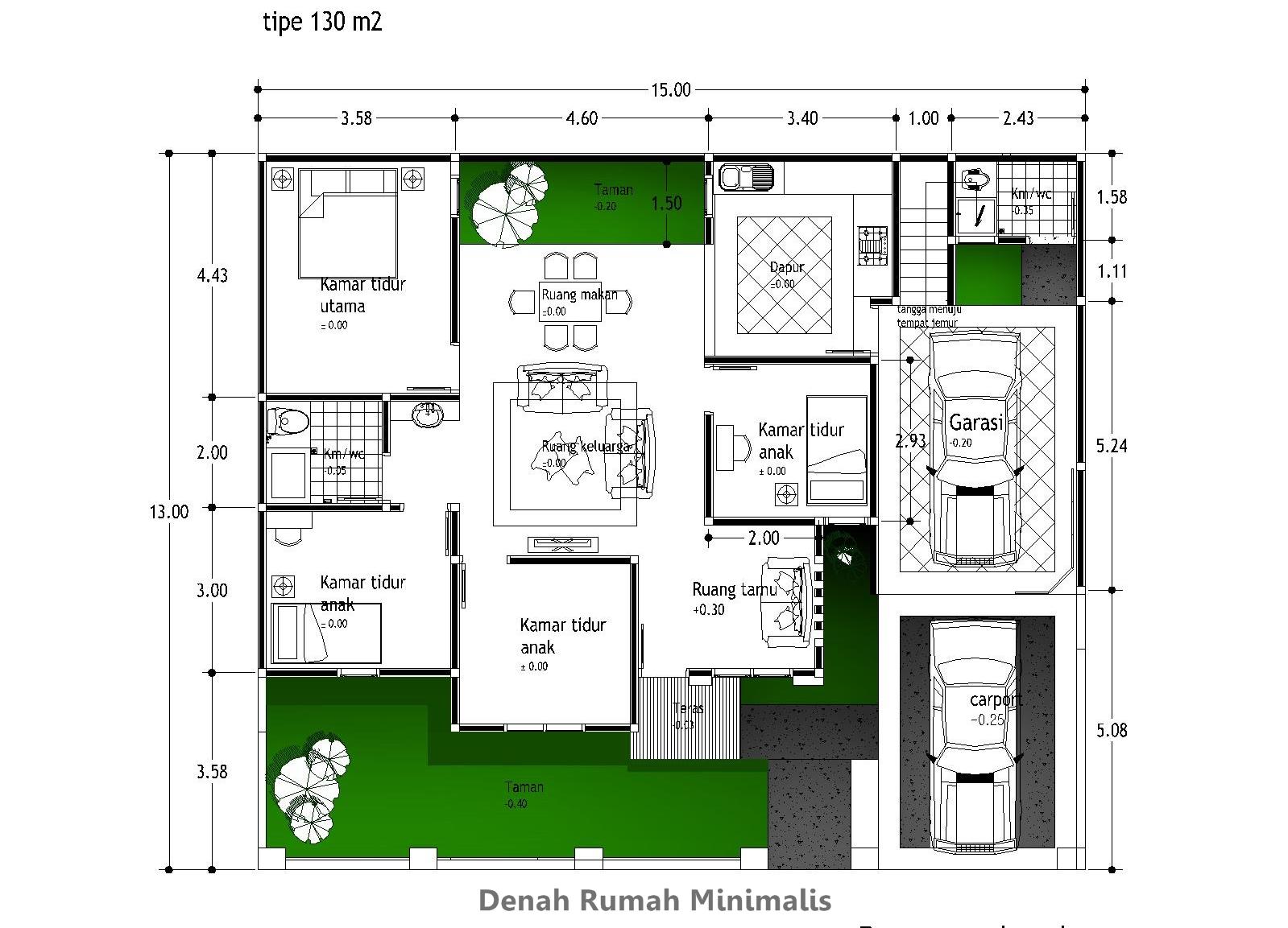denah rumah dengan luas tanah 200 meter inspirasi dekor