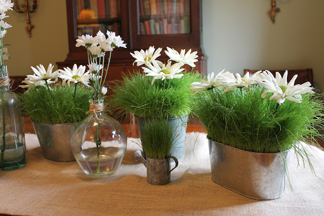 daisy and grass centerpiece
