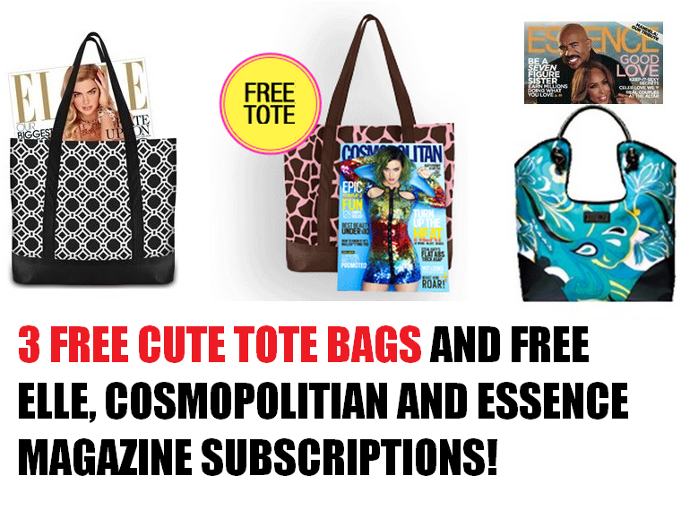 3 free cute tote bags free cosmopolitian magazine for Free home magazines by mail
