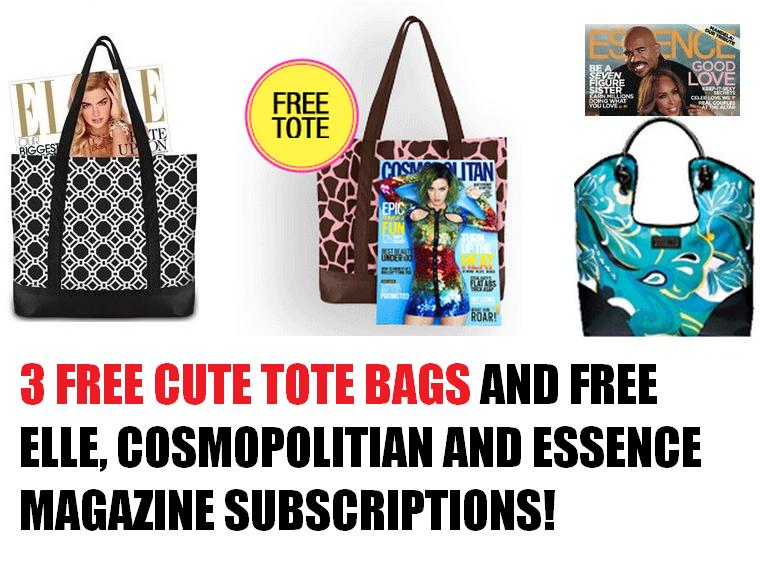 3 Free Cute Tote Bags Free Cosmopolitian Magazine