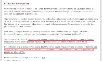 Vereador Eduardo Braga mente em blog