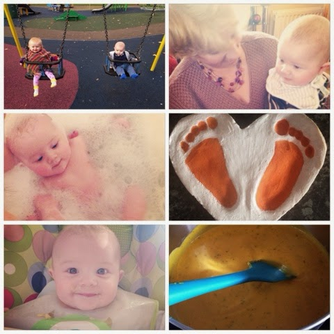 Fun on the swings | Some Granny time | Bath Time | Halloween Footprints | Trying Banana for the first time | making a pot of soup
