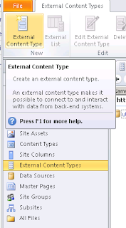 Creation of external content types with sharepoint designer 2010