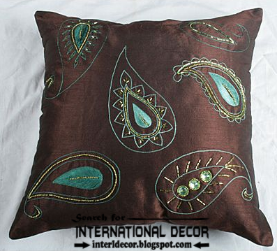 Italian pillows and cushions, brown and turquoise pillow, stylish pillows styles