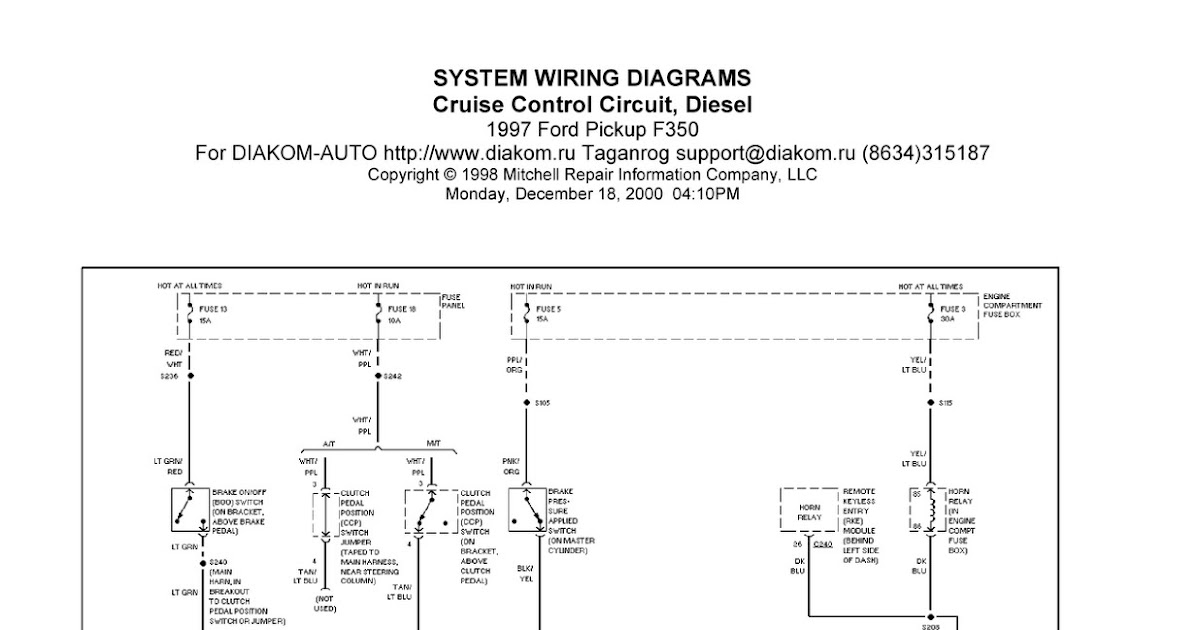 1997 Ford Pickup F350 Cruise Control Circuit System Wiring Diagram