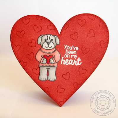 Sunny Studio Stamps Sending My Love Valentine's Day Heart Shaped Card