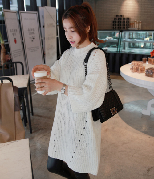Rib Knit Drop Shoulder Dress