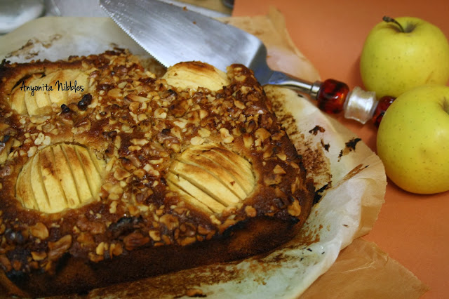 Toffee Apple Cake with Walnuts and Hazelnuts from www.anyonita-nibbles.com