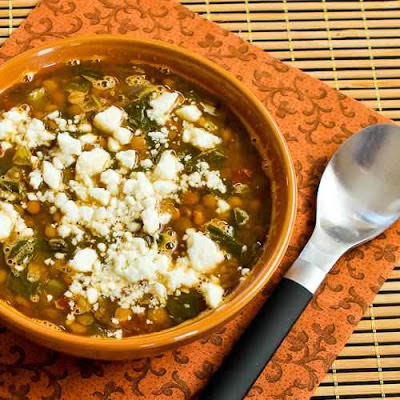 Vegetarian Greek Lentil Soup with Tomatoes, Spinach, and Feta