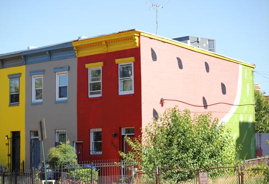 watermelon house near Logan Circle in Washington, DC