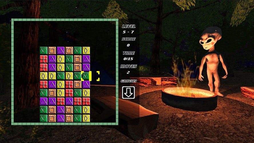 Image of GravBlocks+ for Wii U. This is a screenshot of Story Mode. The puzzle can be seen on the left side of the screen, and an alien is watching the action on the right side of the screen.