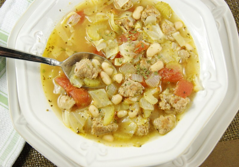 White Bean & Sausage Soup - The Kitchen is My Playground