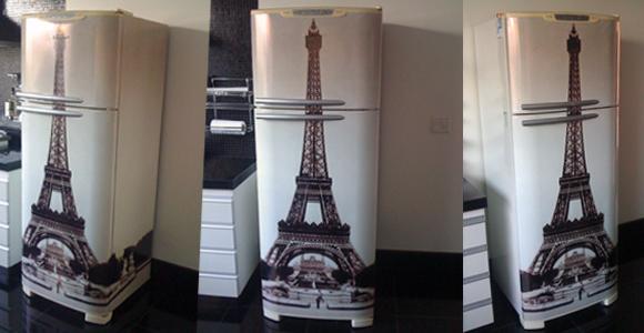 Armário Embutido Na Parede ~ COZINHA  geladeira torre Eiffel ~ VINTAGE adesivos