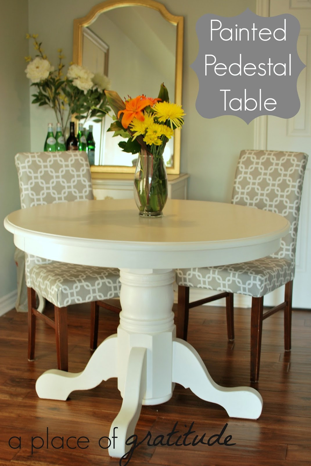 A place of gratitude painted pedestal table - White pedestal kitchen table ...