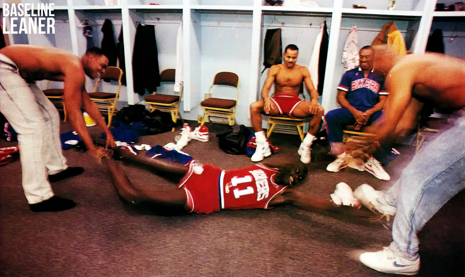 Baseline Leaner Manute Bol Rick Mahorn and Sir Charles in a