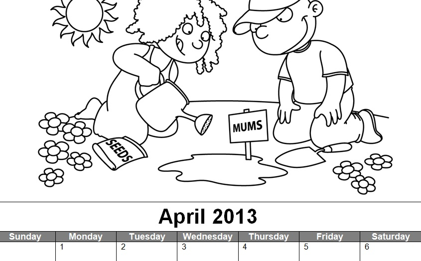 Coloring Pages For Month Of April : Craftdrawer crafts free april coloring page and calendar