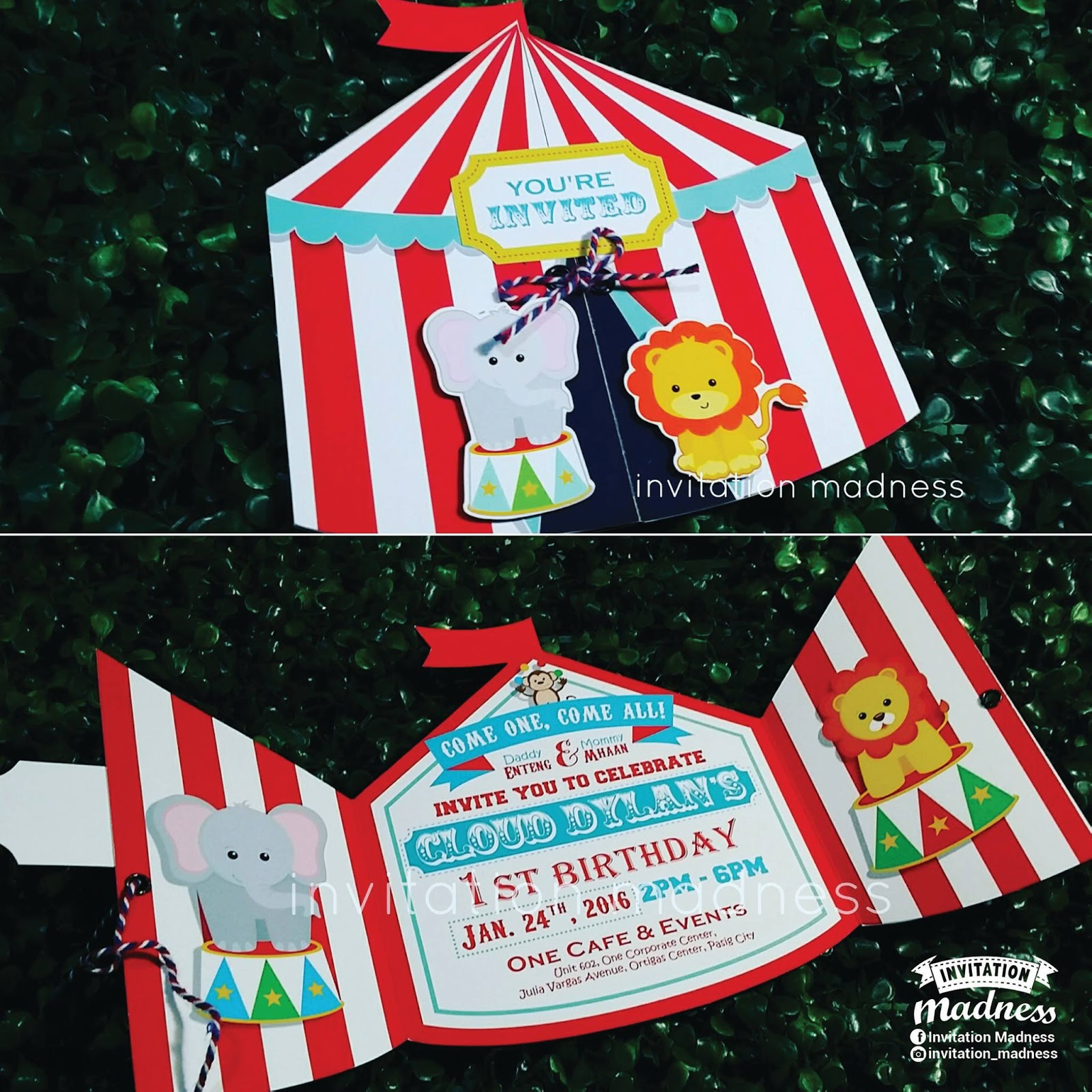 Throwing A CircusThemed Birthday Party Invitation Madness Review - Birthday invitation cards circus