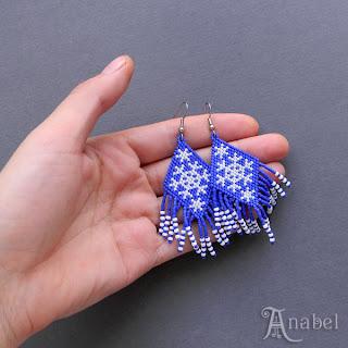 купить украшение зимняя тематика подарок на новый год серьги из бисера