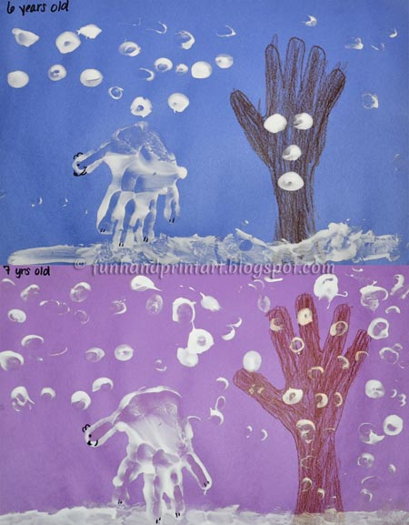 Kids Craft: Puffy Paint Winter Handprint Art Scene