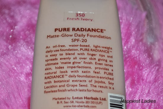 Lotus Herbals Pure Radiance Matte Glow Daily Foundation SPF – 20