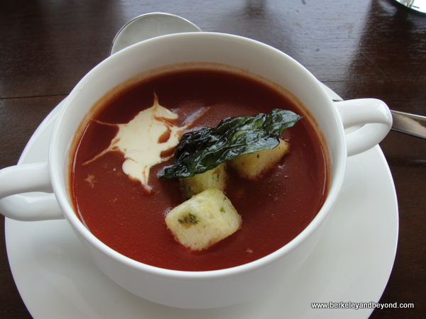 tomato soup at Dapur Nusa restaurant in Taman Nusa Indonesian cultural park in Bali