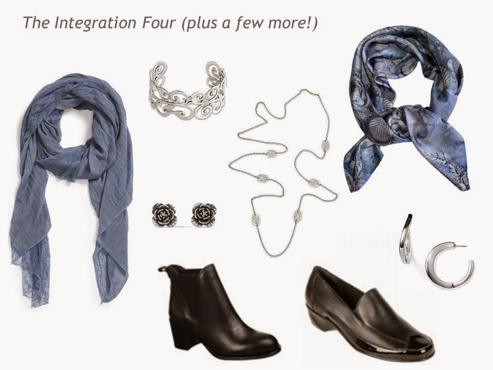 accessories - shoes, scarves, and jewelry - to accent a wardrobe of navy, grey, smoky blue and pearl grey