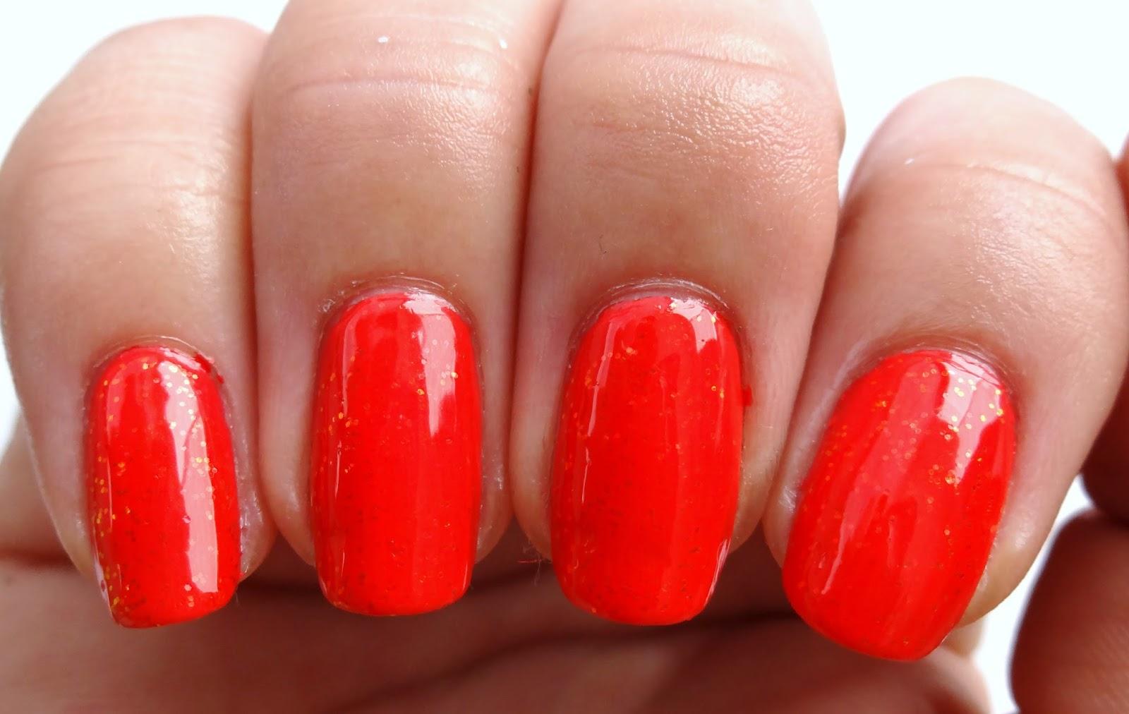 Orange Glitter Nails