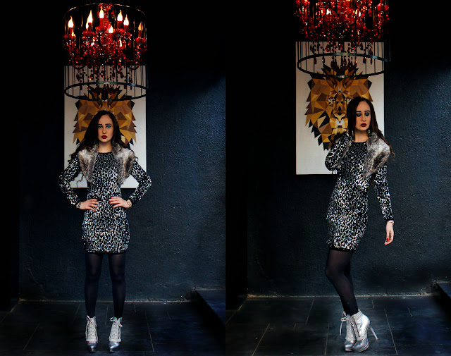 ONLY Black and Silver Sequin Dress, ONLY Autumn/Winter 2015, Faux Fur Stole, Black Stockings, Silver Snakeskin Boots, Edgy Party Look