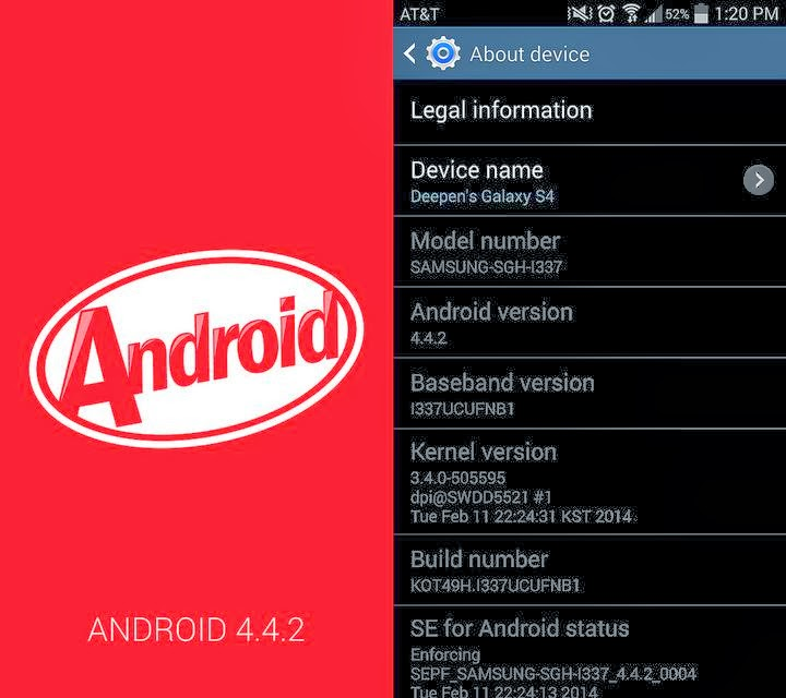 android kitkat update at&t galaxy s4
