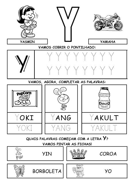 Atividades de Alfabetização coma letra Y