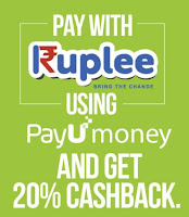 (Last Day) Ruplee : Get 20% Cashback with payumoney