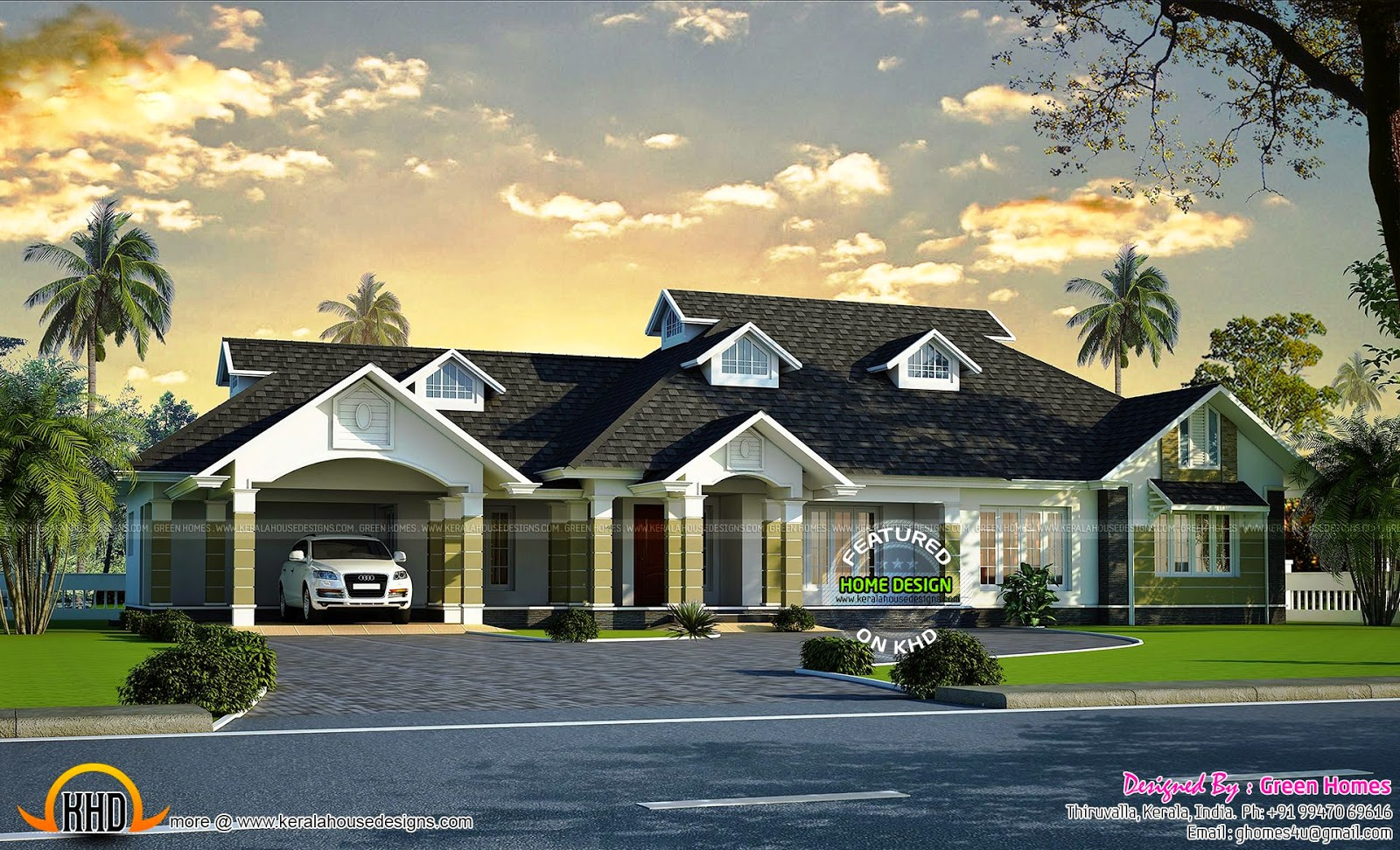 Luxury bungalow exterior kerala home design and floor plans for Luxury bungalow house plans