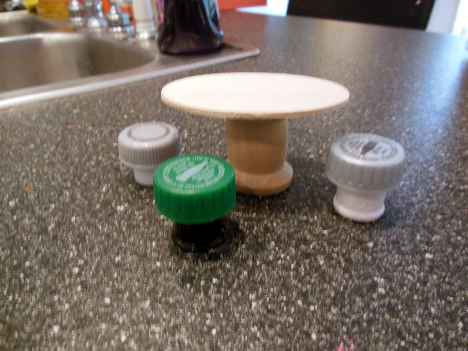 Table   stools made from bottle. Imperfectly Possible  Recycled Item Fairy Garden