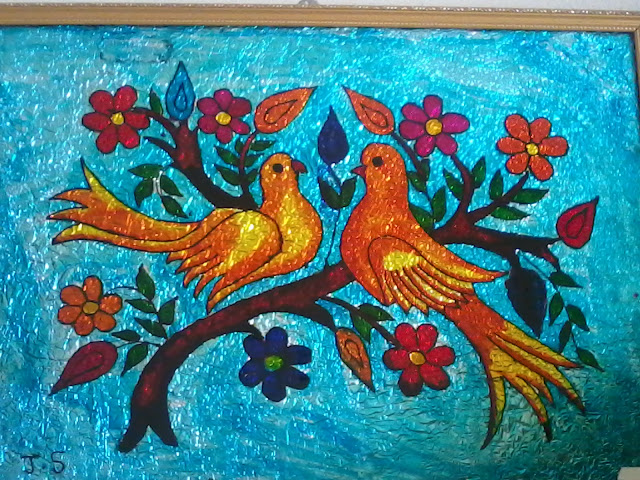 Arts and crafts glass painting love birds for Art and craft painting