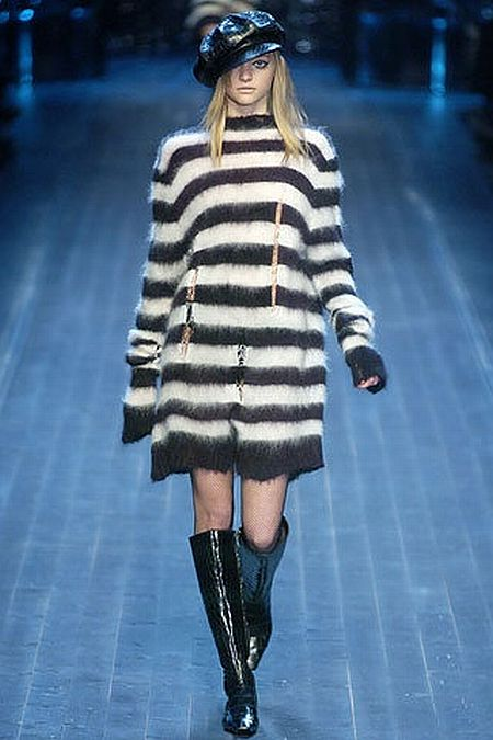 runway look: black and white striped coat by Christian Dior F/W 2005