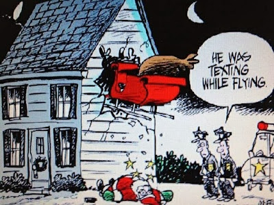 Father Christmas house crash cartoon texting while flying