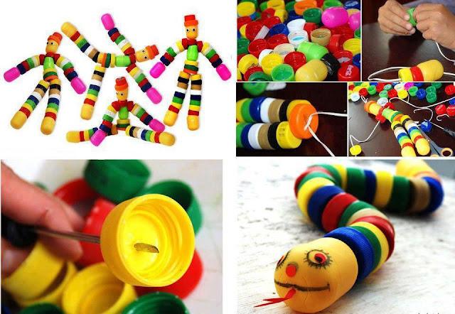 Juguetes reciclados con tapitas de plástico