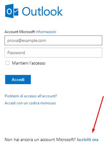 creazione account outlook microsoft