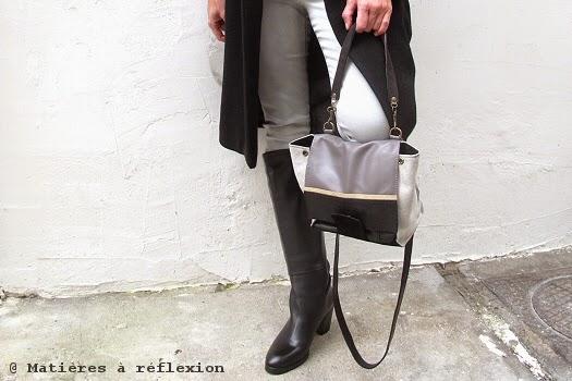 Petit sac en cuir Noir et Gris : le Mini-Néon Matières à réflexion
