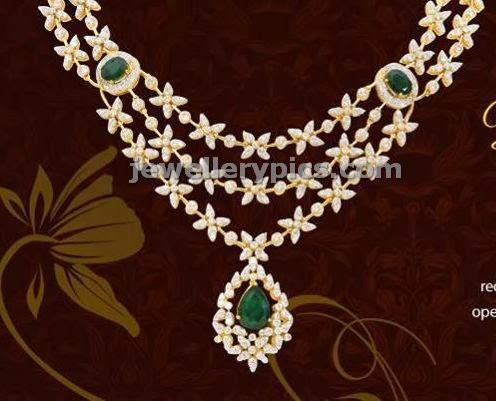 grt jewels three step star design diamond necklace with emeralds