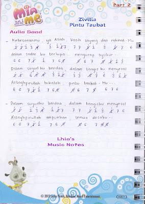 """Catatan Not Lagu - Zivilia, """"Pintu Taubat"""" (Piano/Pianika Pemula)"""