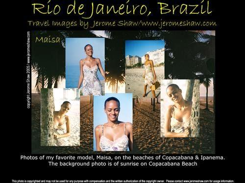 A composite of images of Maisa Soares Silva modeling on Copacabana & Ipanema Beach  in Rio de Janeiro, Brazil. Photo: copyright Jerome Shaw / http://www.JeromeShaw.com
