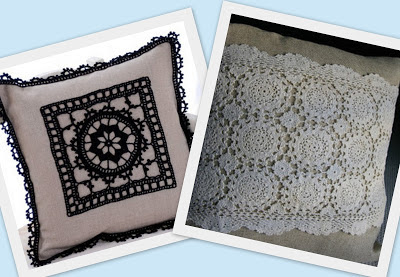 Almofadas de crochê aplicado