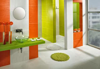 Bathroom with lots of color