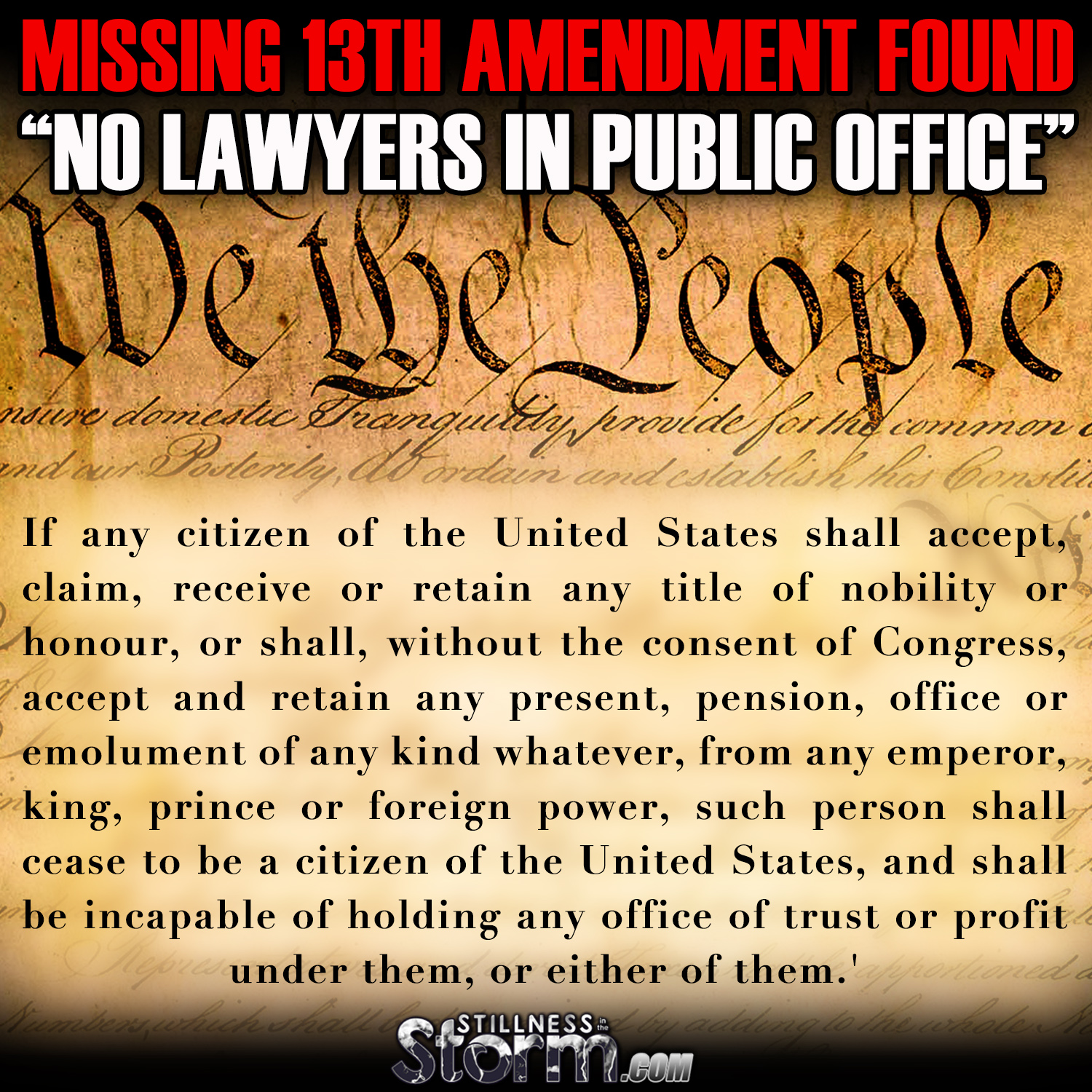 """Missing 13th Amendment Found: """"No Lawyers In Public Office ..."""