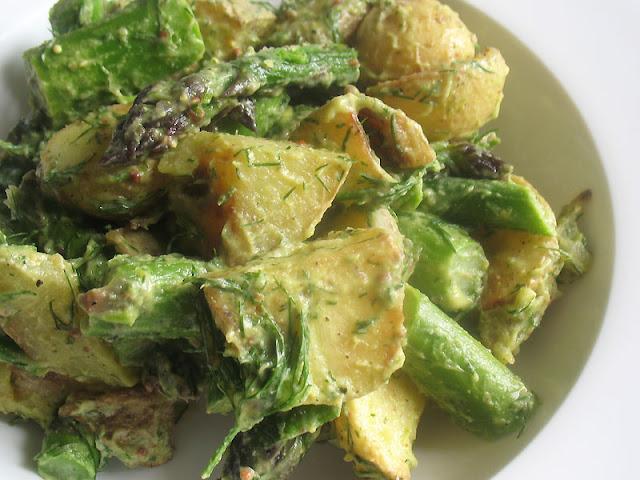 potato salad dressed with avocado