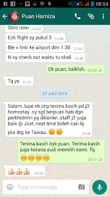 J3 Homestay Tawau & Car Rental customer