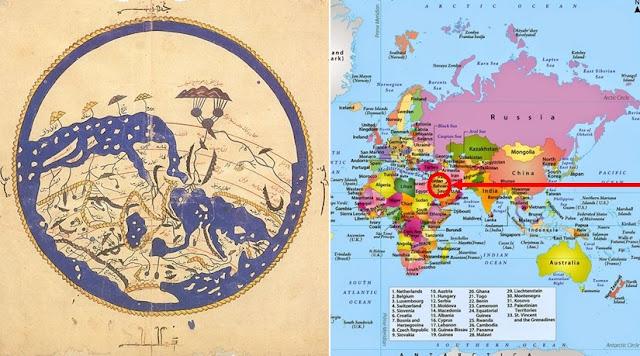 Meskipun Peta Dunia Dibalik, Posisi Ka'bah Akan Membuat Anda Tercengang